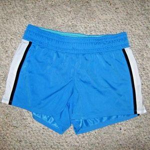 Blue Black White Stripe Stretch Athletic Shorts M